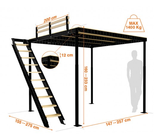 Loft bed TS 8 with lateral stairs